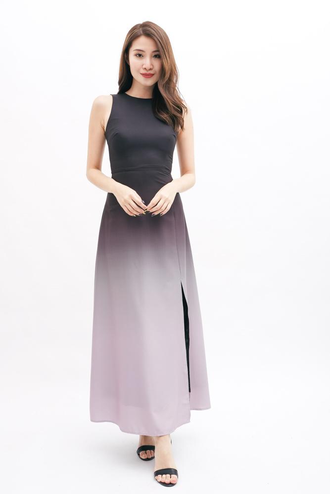 cfe92e53053  RESTOCKED  AURORA OMBRE MAXI DRESS (BLACK)