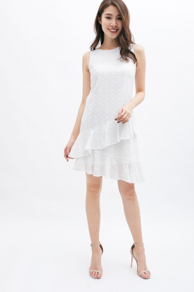 fc29416c1ff ALEXIA RUFFLE DRESS (WHITE)