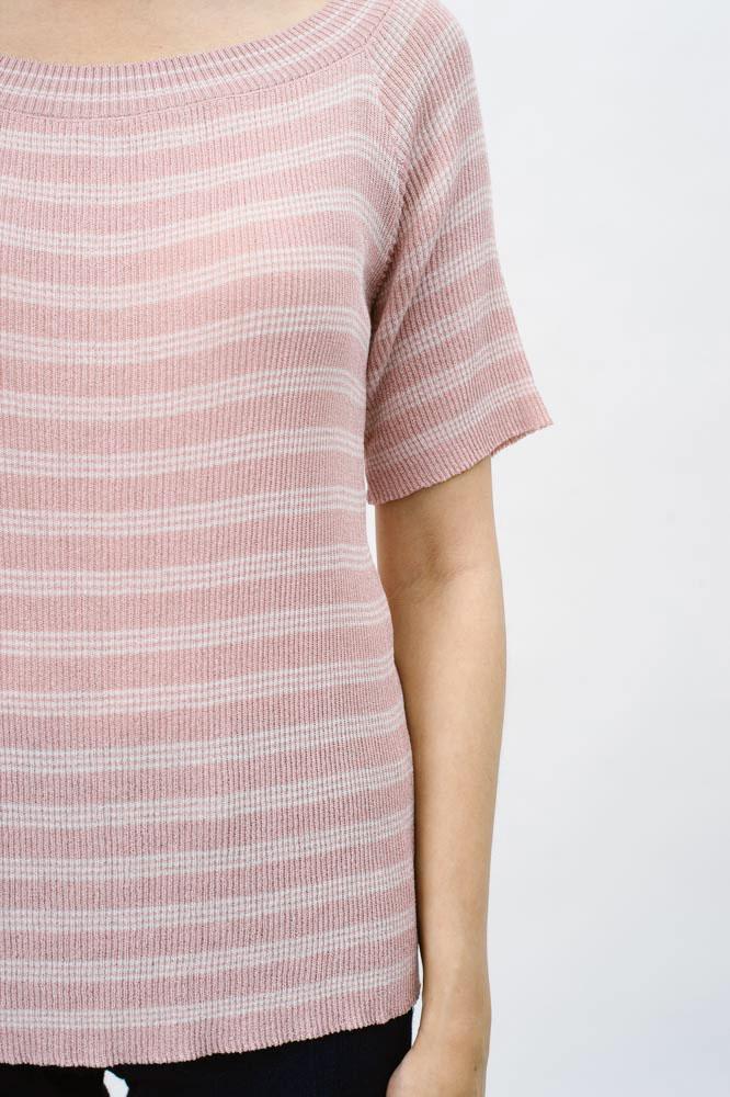 Tessa Knit Top Pink Stripes Faire Belle