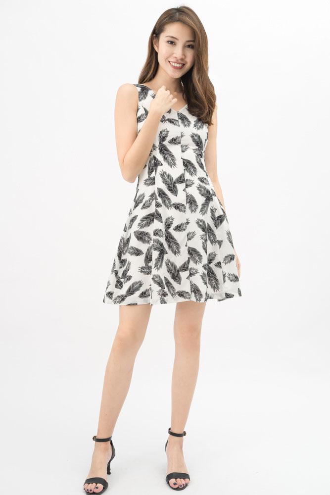 White Feather Print Dress