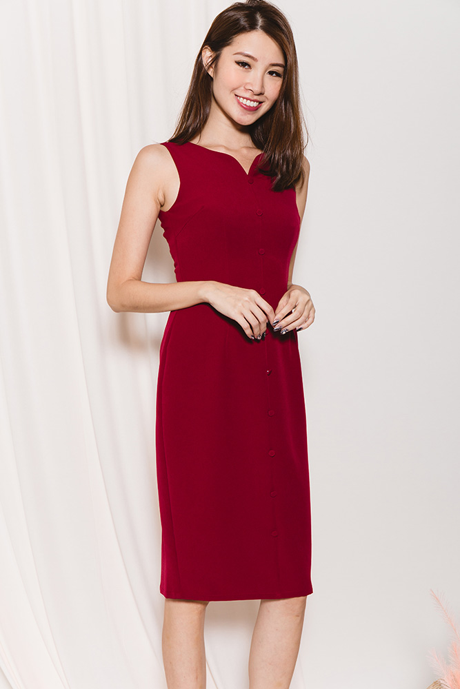 Bourbon Braganza Sheath Dress (Wine)