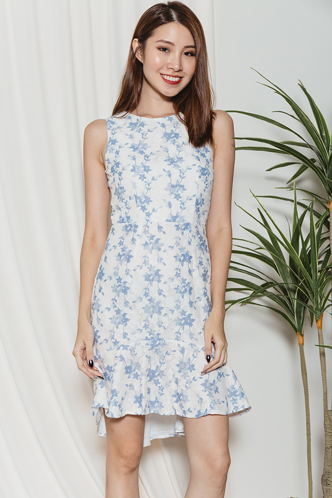 Rosabella High-Low Hem Lace Dress (White)