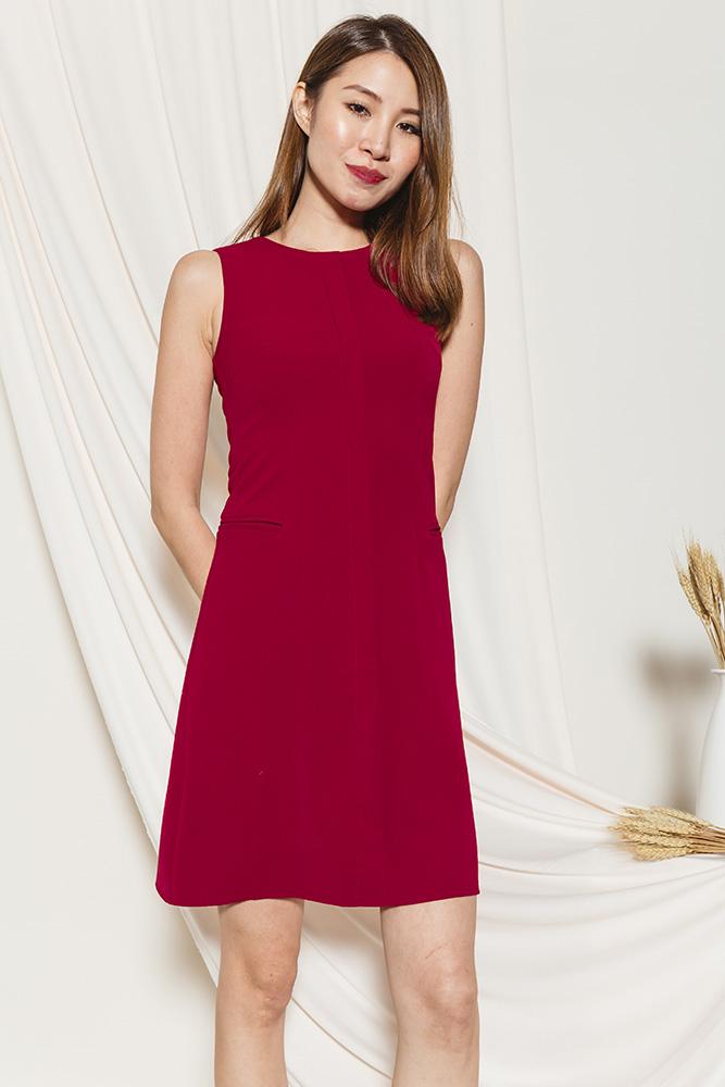 Velda Shift Dress (Deep Red)