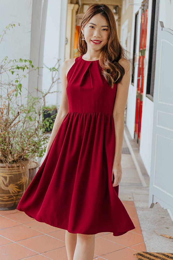 Sistine Cut In A-Line Dress (Wine Red)