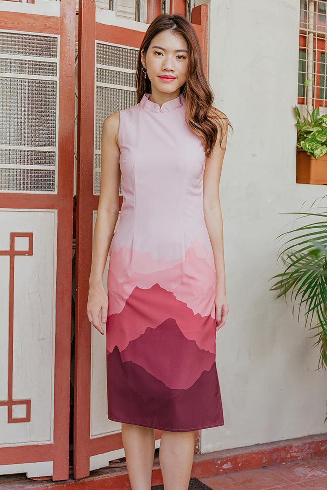 Panorama Midi Dress W Detachable Collar (Pink/Wine)