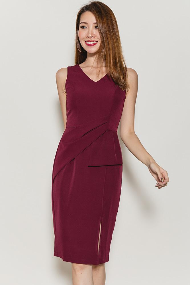 Geovana Peplum Dress (Wine)
