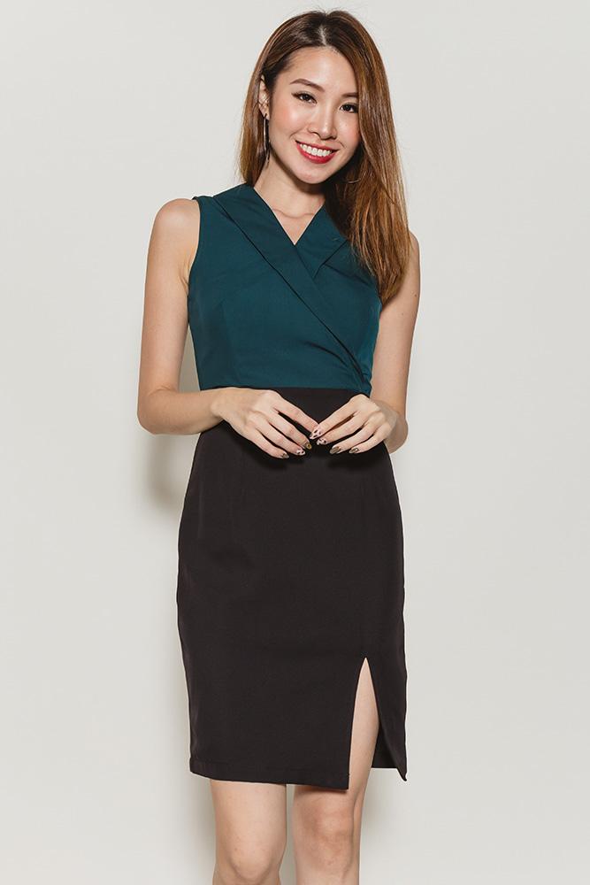 Dimitra Lapel Collar Slit Dress (Emerald)