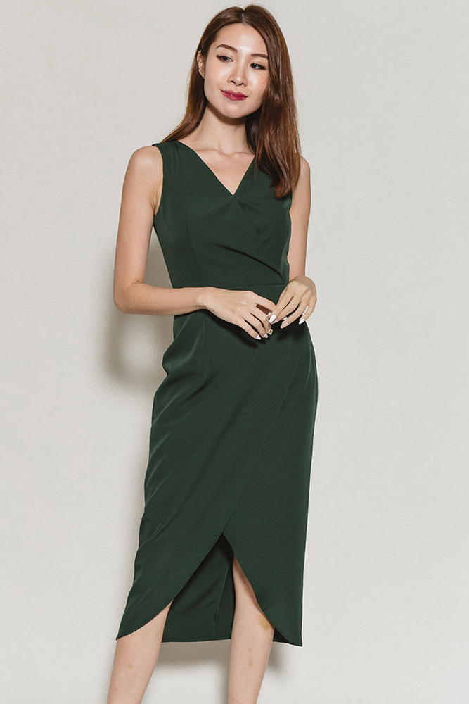 Colette Tulip Midi Dress (Forest Green)