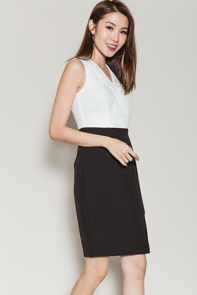 Dimitra Lapel Collar Slit Dress (Monotone)