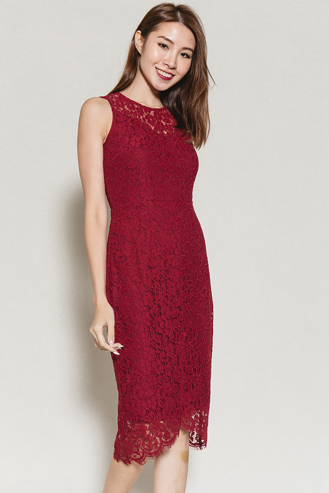 Konstandina Bardot Lace Dress (Wine)