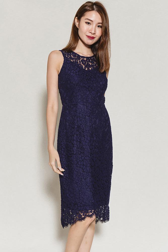 Konstandina Bardot Lace Dress (Navy)