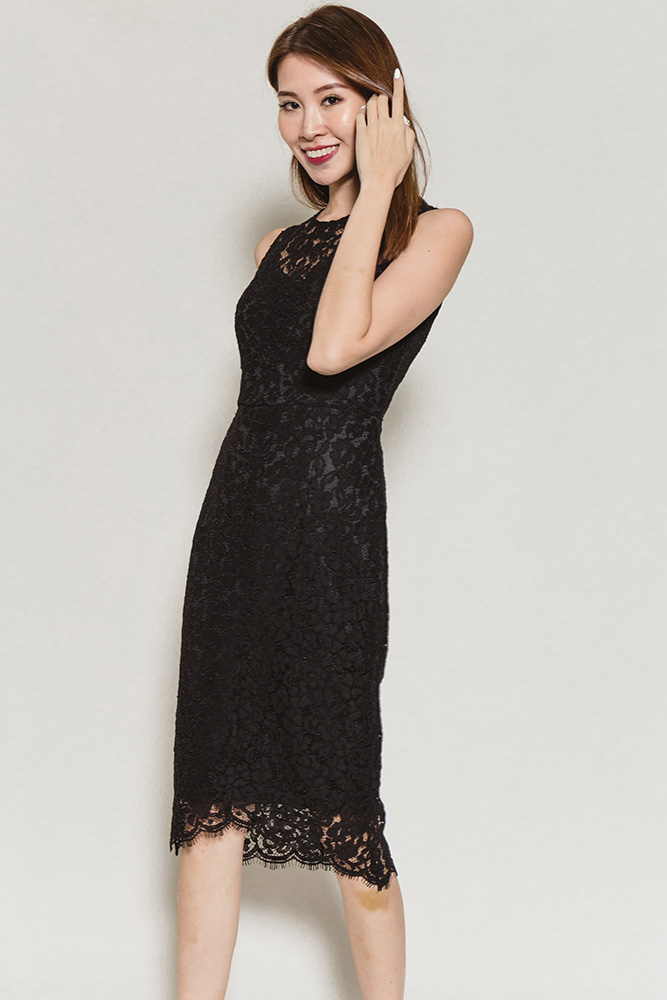 Konstandina Bardot Lace Dress (Black)