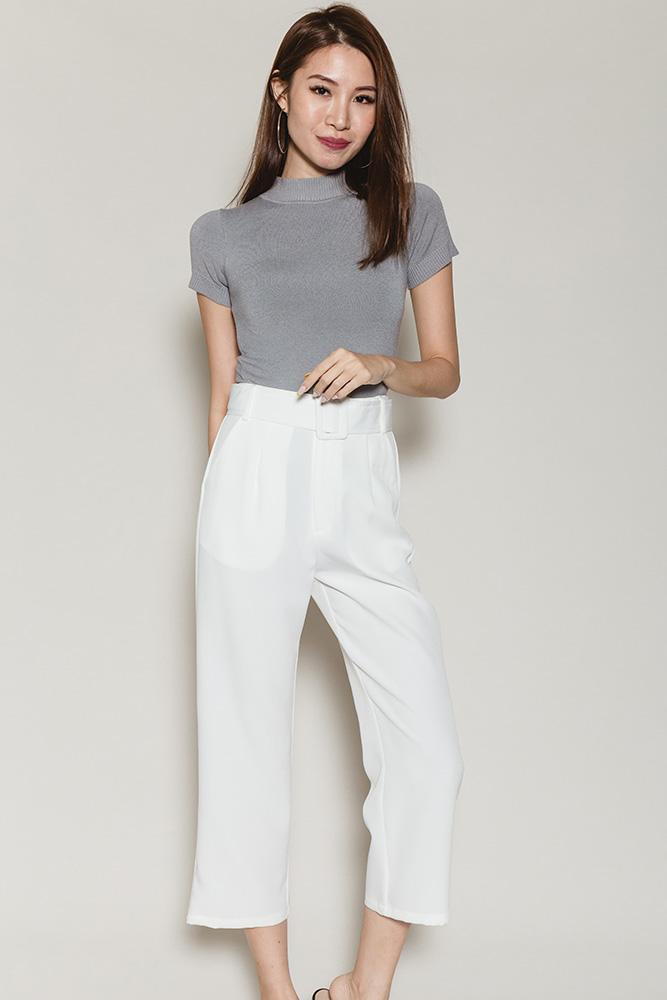 Petria Cigarette Pants W Detachable Belt (White)