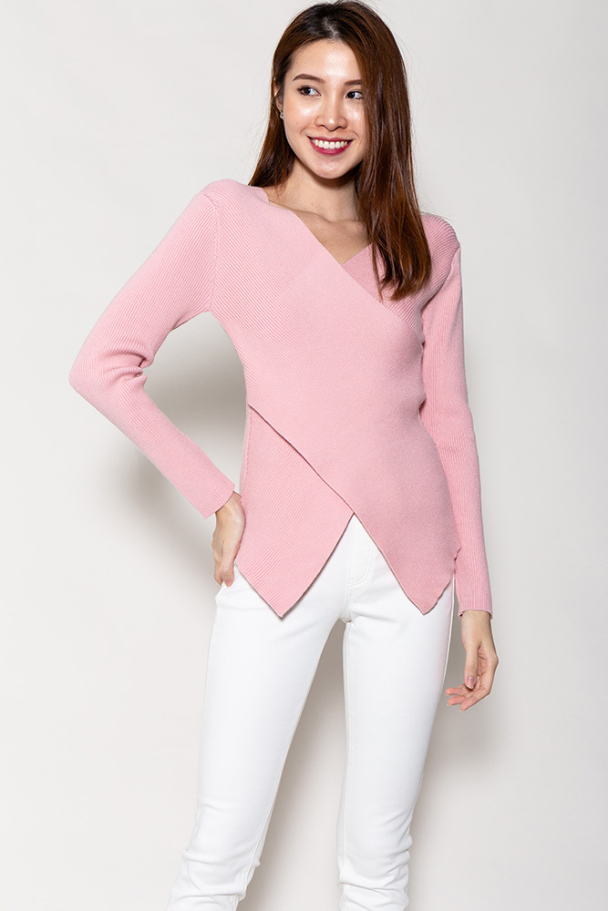 Demeter Cross Wrap Ribbed Top (Pink)