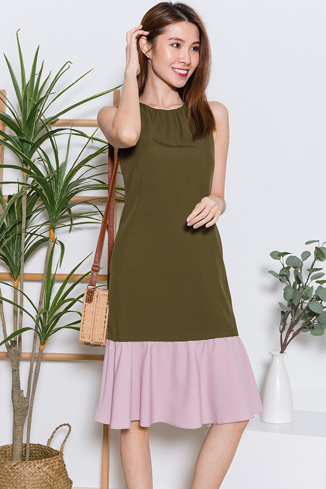Tory Midi Flounce Dress (Olive/Light Pink)