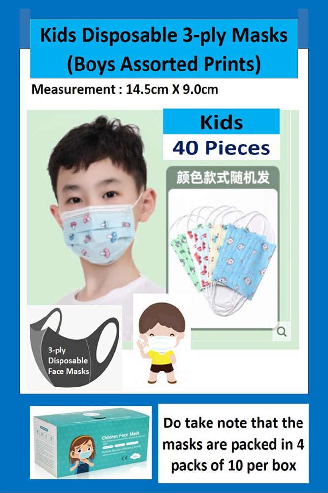 3-PLY CHILD DISPOSABLE FACE MASK IN ASSORTED CARTOON PRINTS FOR BOYS (40 PCS PER BOX)