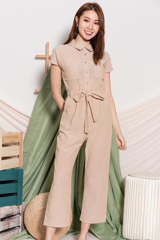 Charlize Utility Linen Jumpsuit (Sand)