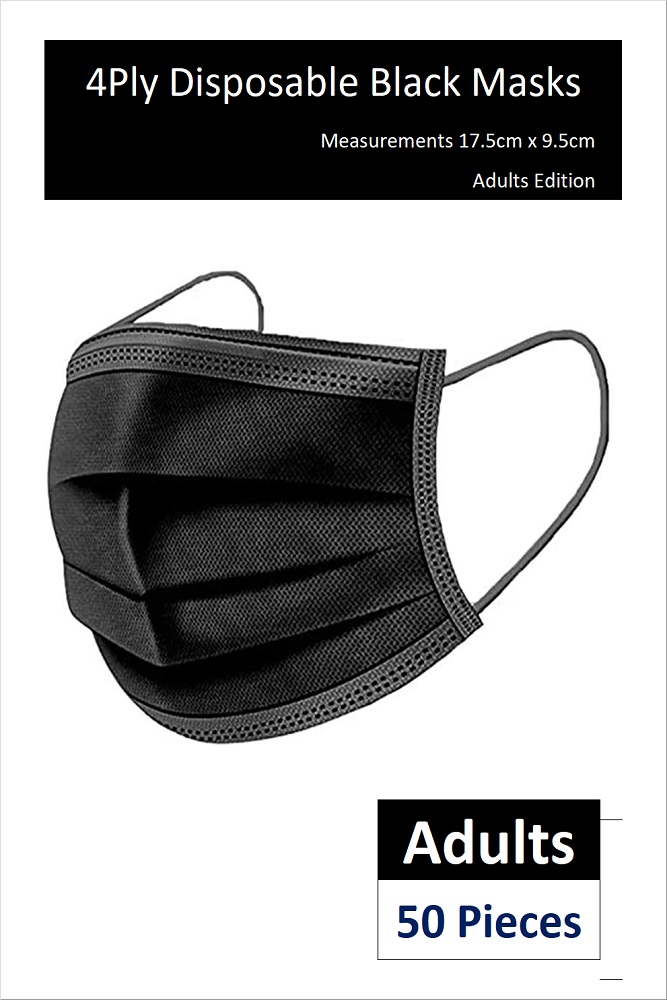 *READY STOCKS* 4-PLY ADULT DISPOSABLE FACE MASK IN BLACK (50 PCS)