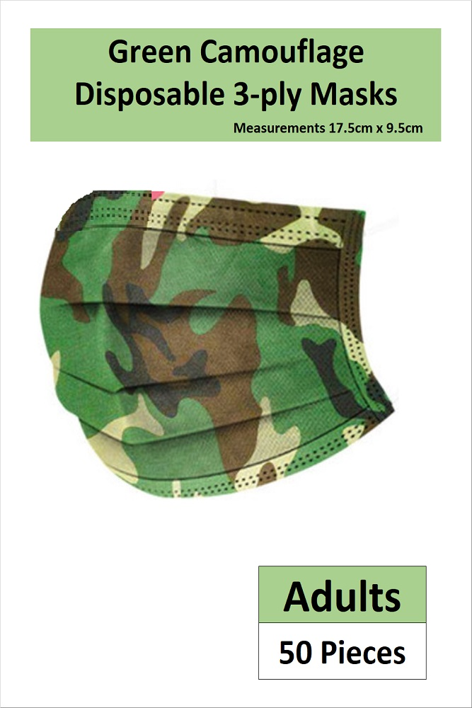 *READY STOCKS* 3-PLY ADULT DISPOSABLE FACE MASK IN GREEN CAMOUFLAGE PRINT (50 PCS)