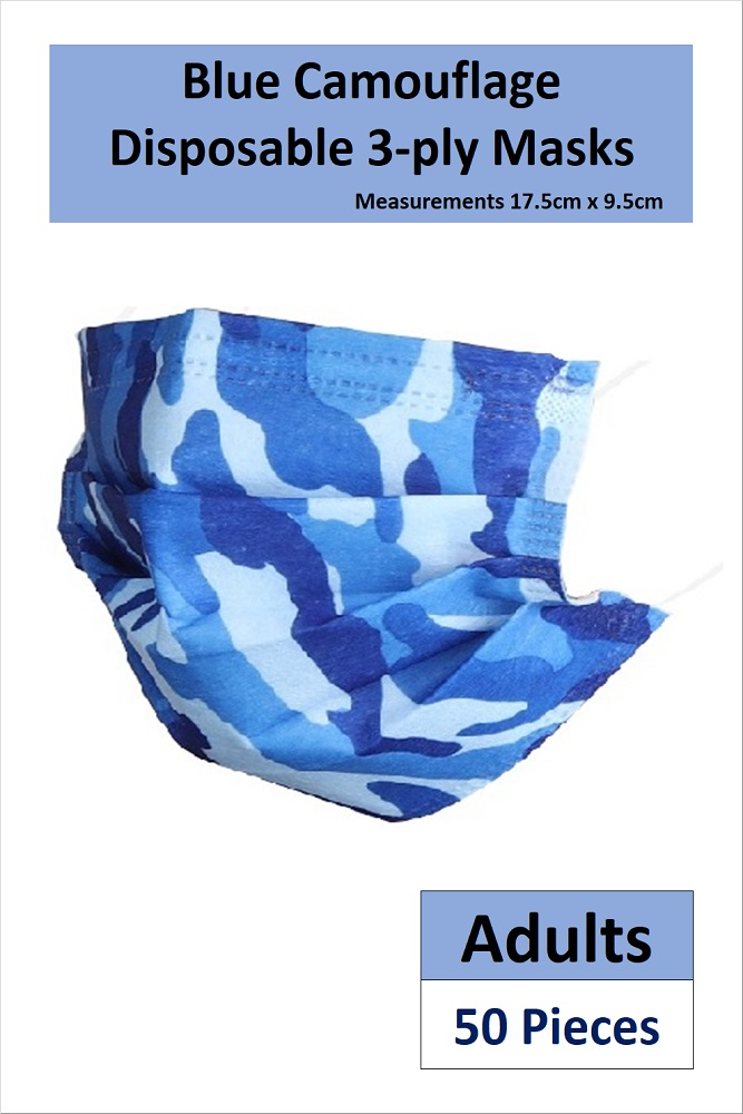 *READY STOCKS* 3-PLY ADULT DISPOSABLE FACE MASK IN BLUE CAMOUFLAGE PRINT (50 PCS)