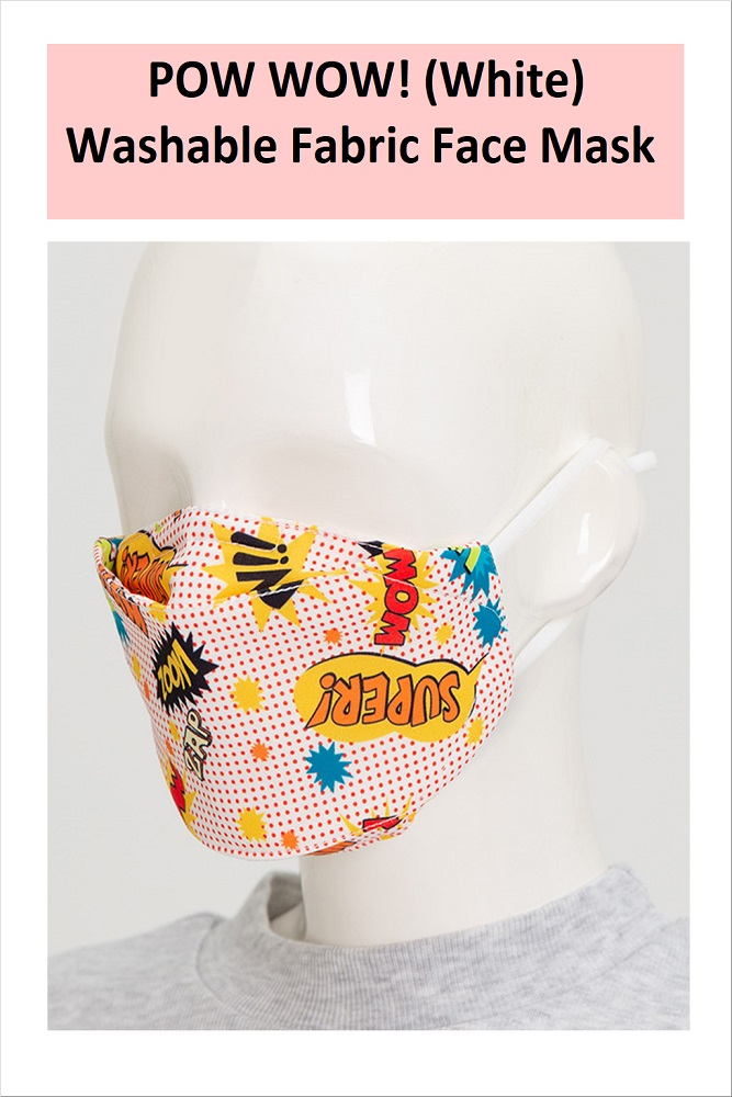 POW WOW! Series Washable Fabric Face Mask (White)