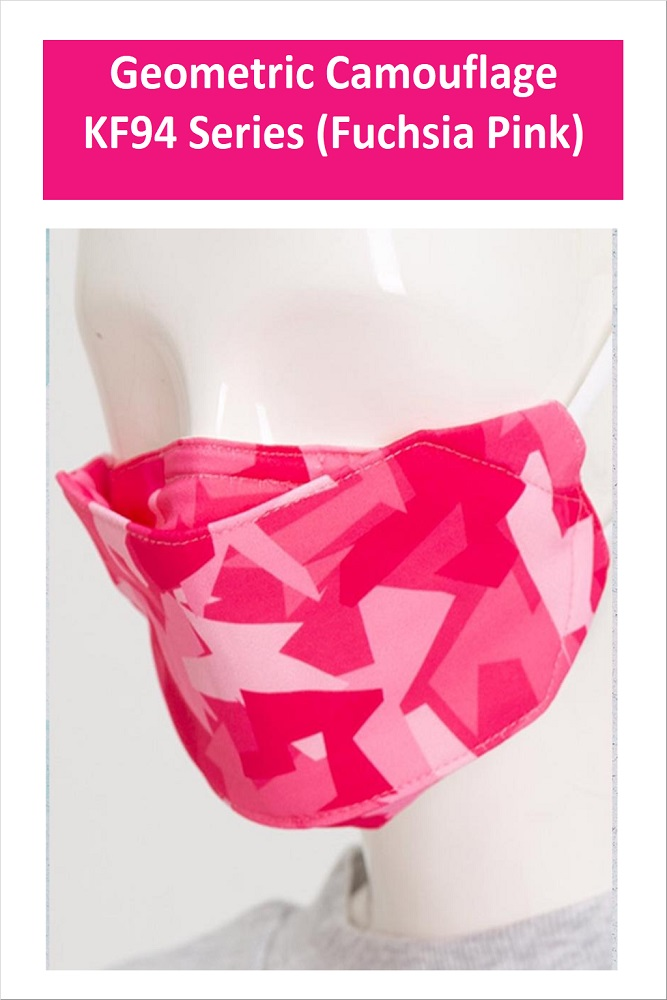 GEOMETRIC CAMOUFLAGE Series Washable Fabric Face Mask (Fuchsia Pink)