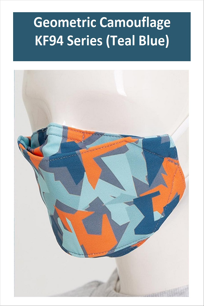 GEOMETRIC CAMOUFLAGE Series Washable Fabric Face Mask (Teal)
