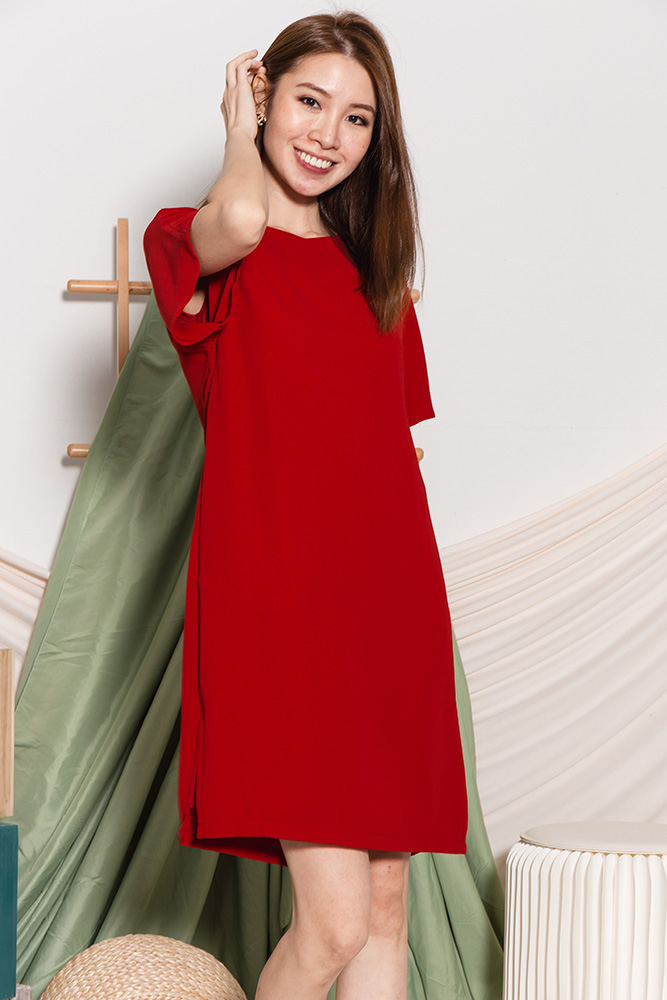 Ava Belle Sleeved Dress (Wine Red)