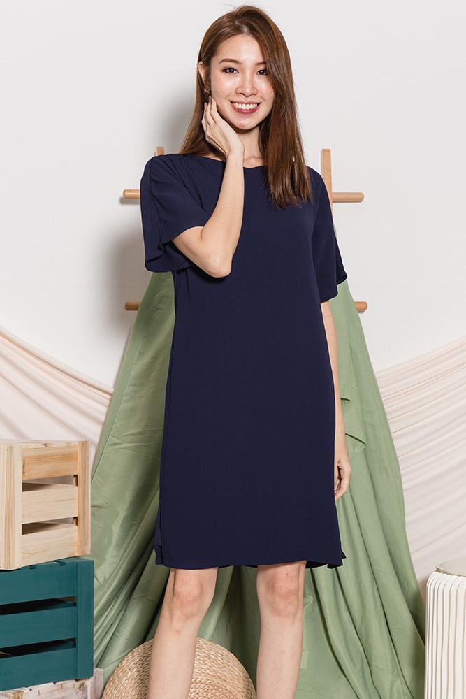 Ava Belle Sleeved Dress (Dark Navy)