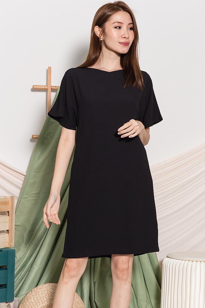 Ava Belle Sleeved Dress (Black)