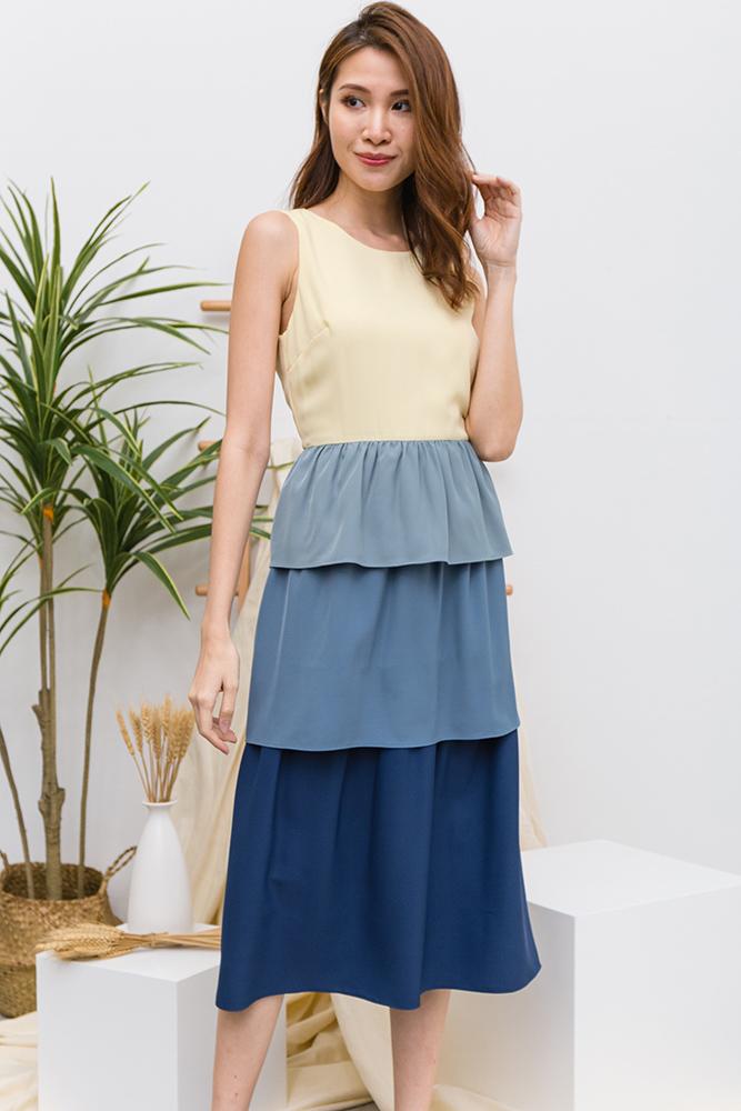 Bambalina Convertible Cupcake Layered Dress (Daffodil Yellow | Ash Blue)