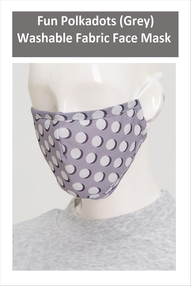 FUN POLKADOTS Series Washable Fabric Face Mask (Grey)