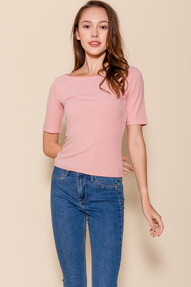 Delphine Mid-Sleeved Top (Blush)