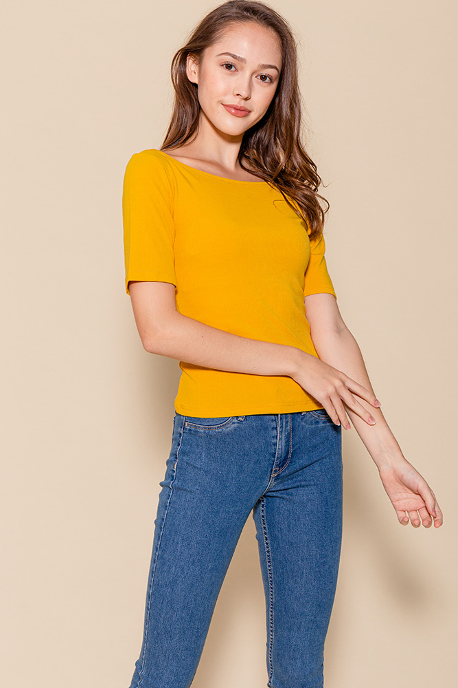 Delphine Mid-Sleeved Top (Marigold)