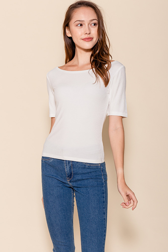 Delphine Mid-Sleeved Top (White)