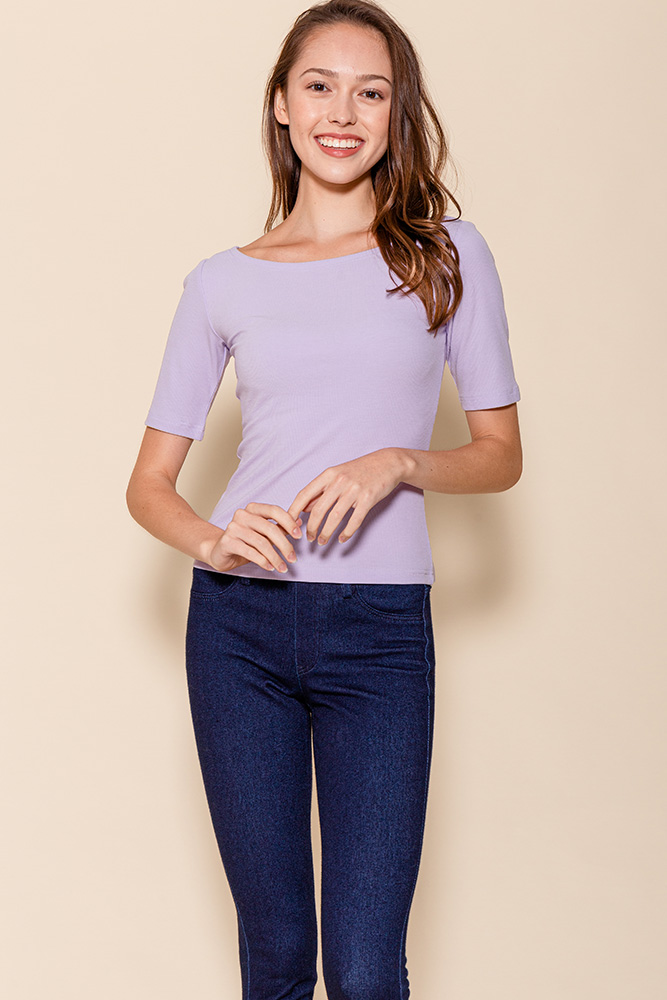 Delphine Mid-Sleeved Top (Lilac)