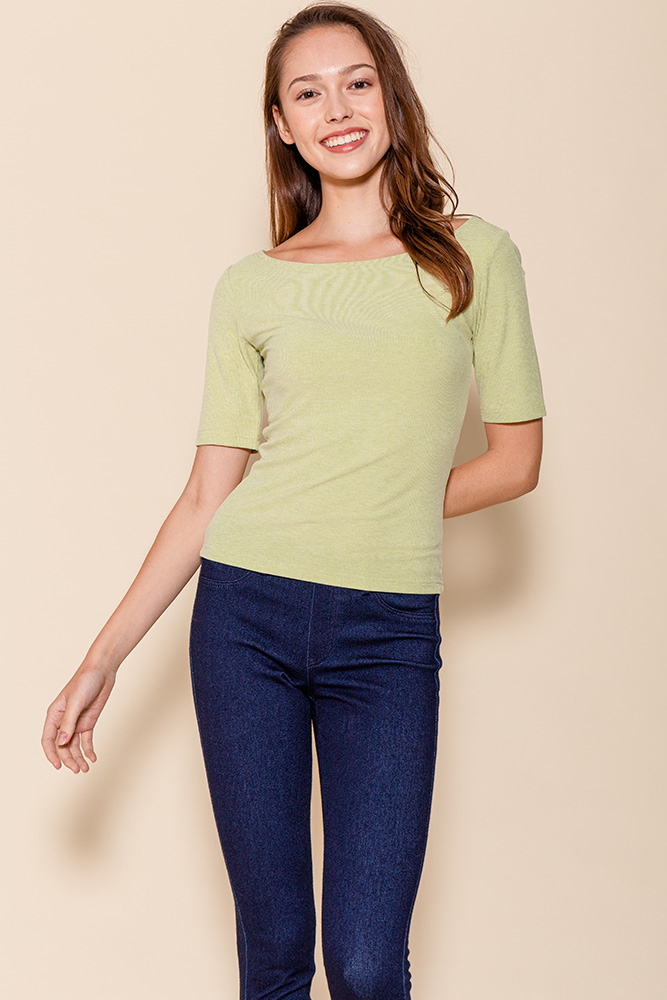 Delphine Mid-Sleeved Top (Pistachio)