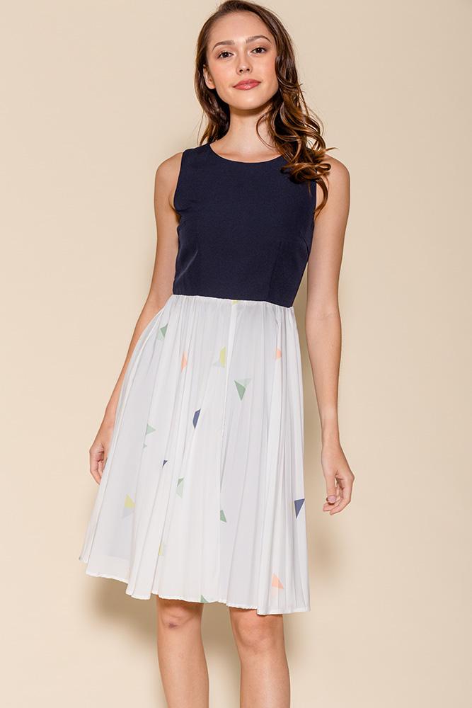 Yvetta Polygon Abstract Pleated Dress (Navy)