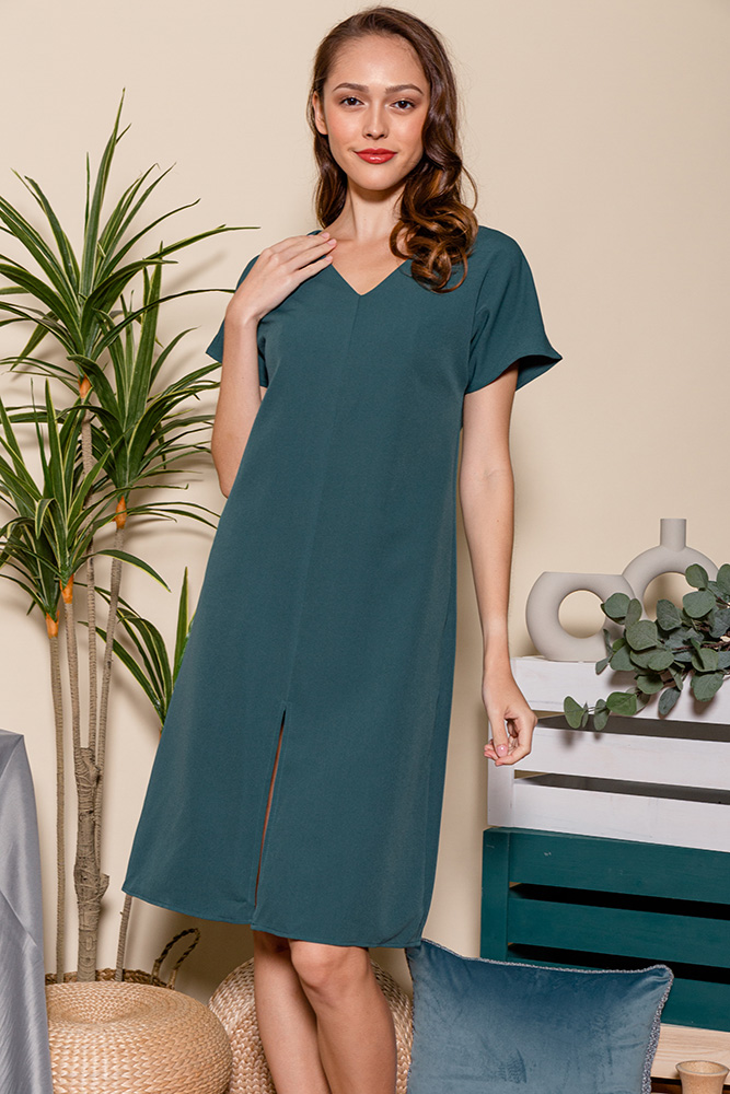 Elora Front Slit Dress (Dark Jade)