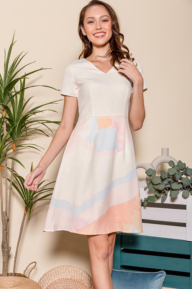 Aquarelle A-Line Dress (Pastel Yellow)