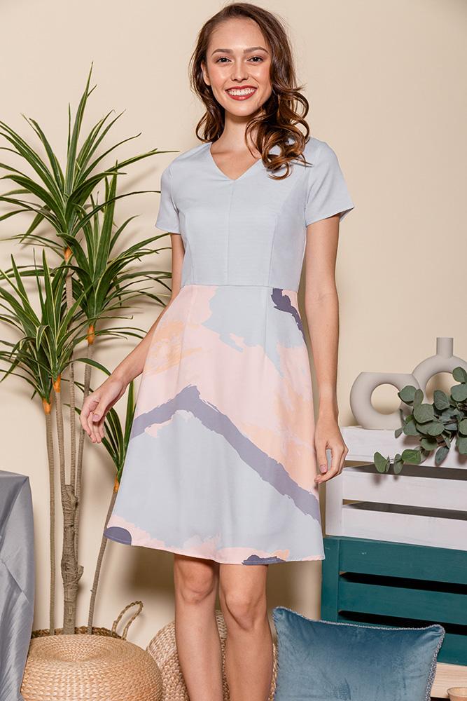 Aquarelle A-Line Dress (Lilac Grey)