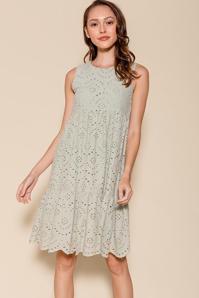 Luna Babydoll Eyelet Dress (Sage)