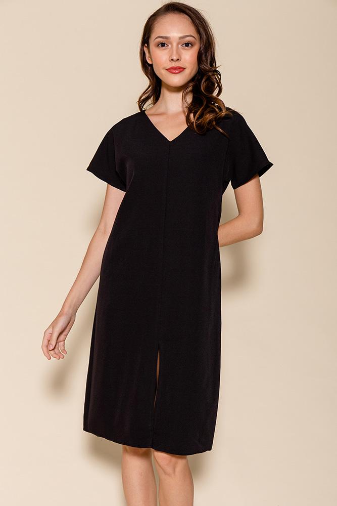 Elora Front Slit Dress (Black)