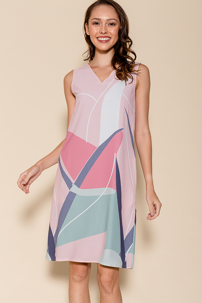 Aimee Reversible Landscape Dress (Pink Abstract/Forest)