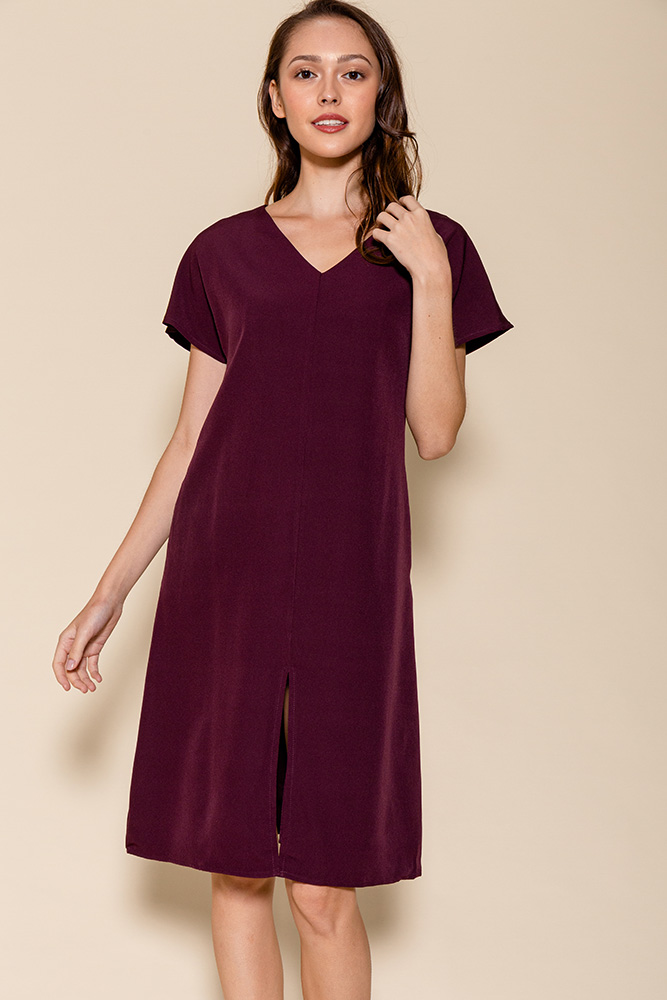 Elora Front Slit Dress (Dark Plum)
