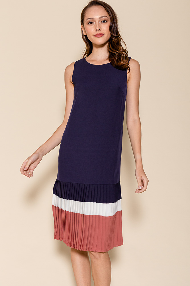 Thalia Colour Block Pleated Hem Dress (Navy)