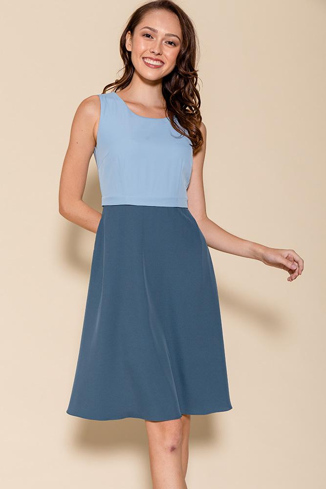 Cheyenne Convertible A-Line Dress (Sky/Teal)