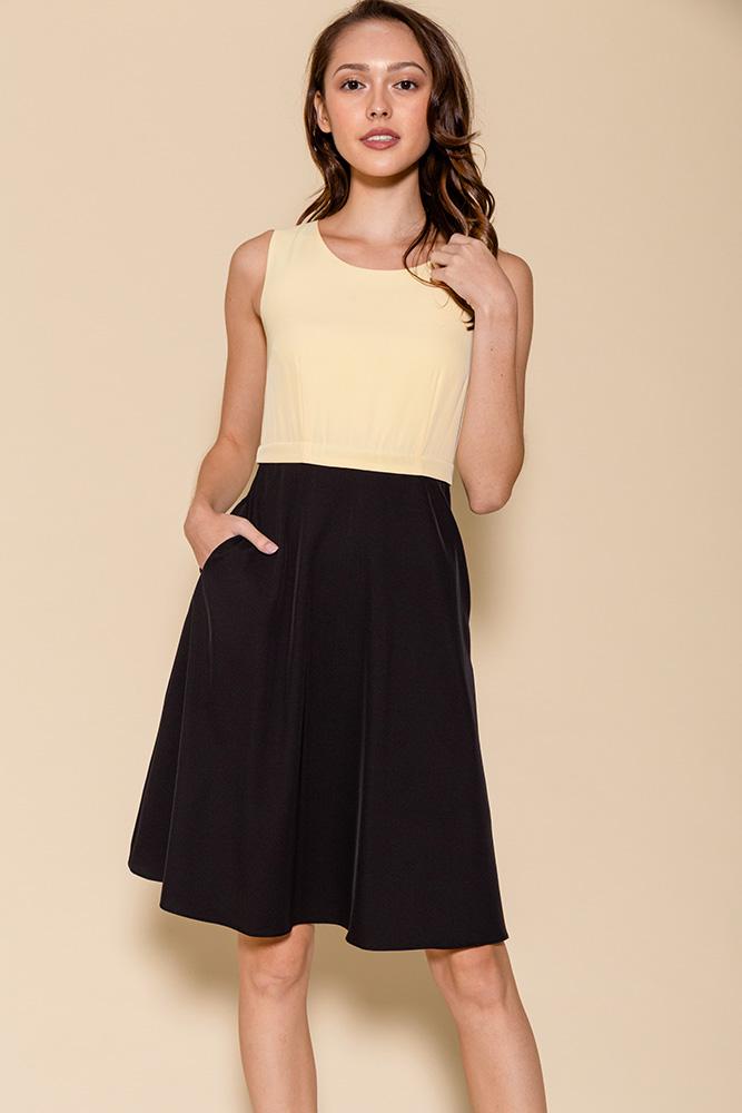 Cheyenne Convertible A-Line Dress (Daffodil/Black)