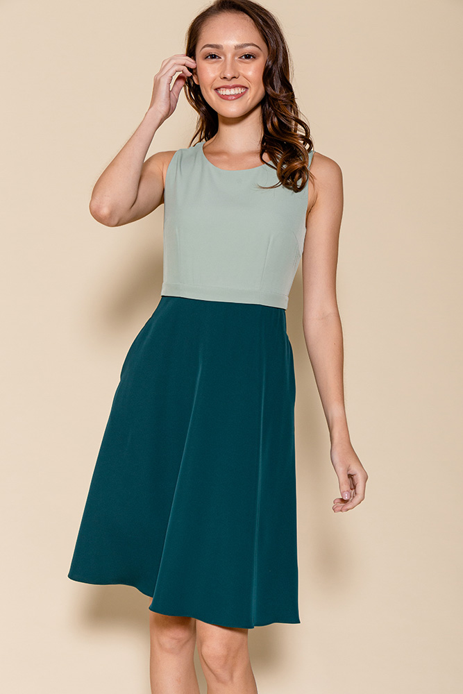 Cheyenne Convertible A-Line Dress (Sage/Forest)