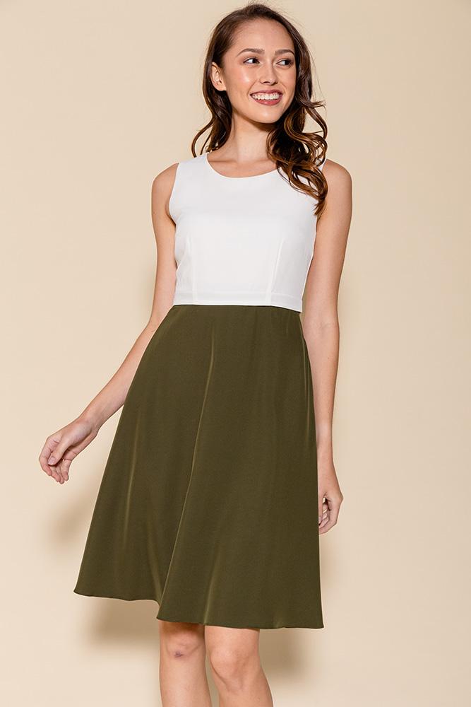 Cheyenne Convertible A-Line Dress (White/Olive)